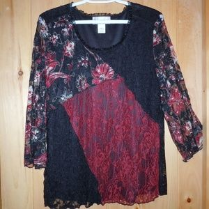 NEVER WORN DRESS BARN  Black/Red party blouse
